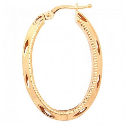 Just Gold Earrings -9Ct Dia Cut Hoop Earrings, ER659